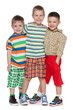 Three fashion little boys in striped shirt