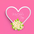 Pink heart with text Mothers Day and flowers for Happy Mothers D