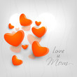 Happy Mothers Day concept with hearts on grey background with te