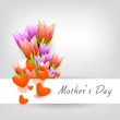 Happy Mother's Day background with colorful flowers and hearts o