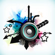 Dance party background with creative abstracts and loud speakers