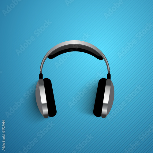 Abstract headphone background, flyer, poster or banner with text