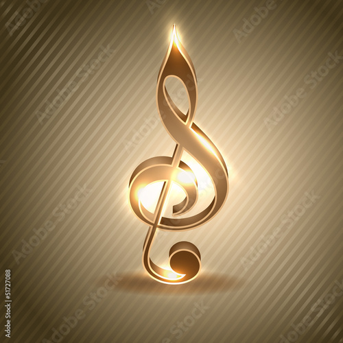 Abstract musical note, music concept.