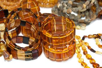 Amber bracelets on white