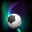 Shiny soccer ball on wave background and space for your message.