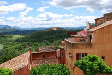 Ocher village of Roussillon and landscape, Provence, France