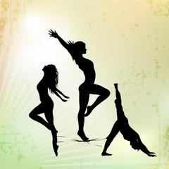 Illustration of rhythmic gymnastic girls on abstract background.