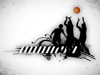 Illustration of a basketball players practicing with ball at cou
