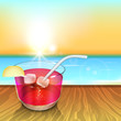Evening summer background with cold drink.