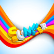3d summer text on colorful wave background, banner, flyer or pos