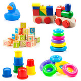 children toys. Toys collection isolated on white background