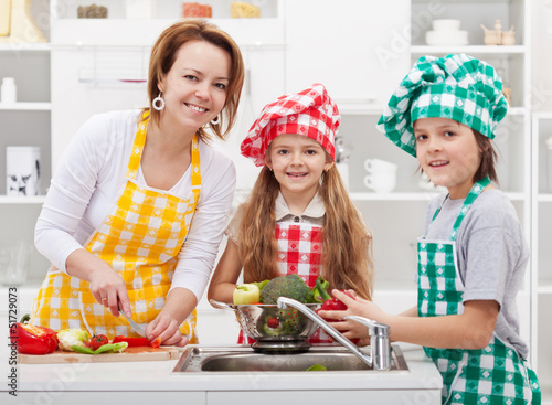 Kids helping mother in the kitchen
