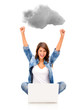 Woman cloud computing