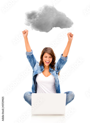 Woman cloud computing