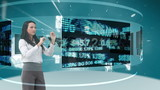 Animation of a businesswomen looking at futuristic interface