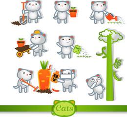 Cats Vector color icons. 8 Symbols Set: gardening