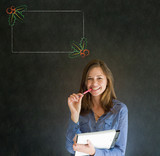 Woman, student or teacher with Christmas menu to do checklist