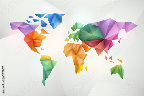 Fridge magnet World map background in origami style.