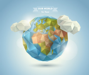 World background in origami style.