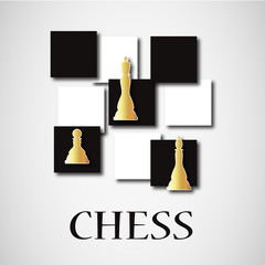chessboard with gold figures, silhouette