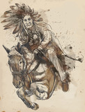 Indian Chief riding a horse - drawing converted into vector