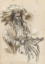 Indian dyrektor trzyma fajkę pokoju - rysunek odręczny do wektora