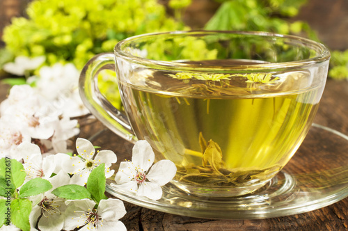 green tea with cherry blossom