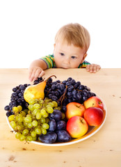 Baby with dish of fruit
