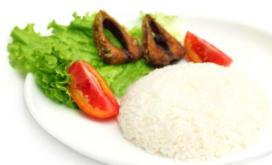 Fresh rice with fried hilsa or Ilish fish