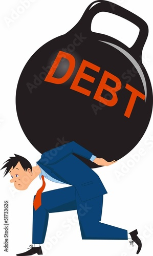 Man carrying heavy debt