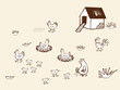Chicken bio farm. Hand drawn vector illustration.