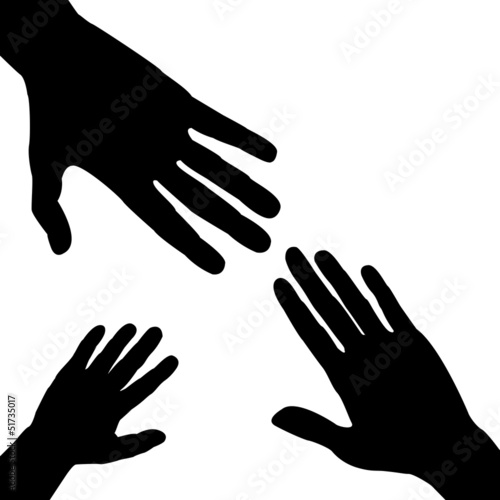 Silhouettes of three hands, family concept