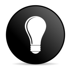 light bulb black circle web glossy icon