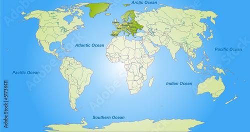 Staande foto Wereldkaart Landkarte von Europa und der Welt