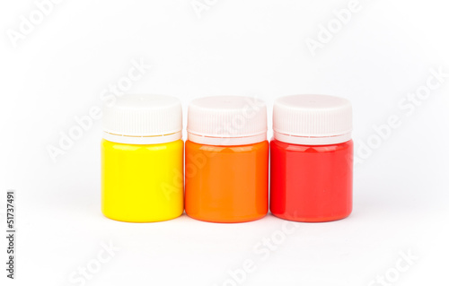 Colorful paints isolated on a white backgrounds