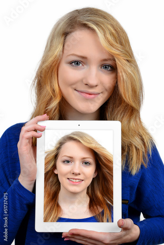 girls with tablet isolated on white background