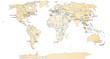 Weltkarte mit bedeutenden Städten