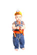 Little boy in an orange helmet with tools on a white background