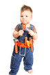 Little boy with tools on a white background
