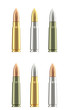 Set of different rifle ammunition cartridges