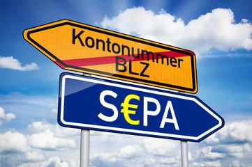 Wegweiser in Blau mit S€PA und Kontonummer BLZ