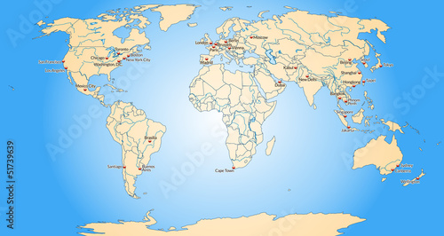 Staande foto Wereldkaart Weltkarte mit Meeresflächen