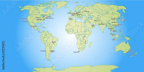In de dag Wereldkaart Weltkarte mit Meeresflächen