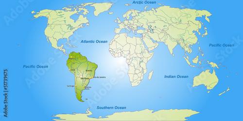 Staande foto Wereldkaart Landkarte von Südamerika und der Welt