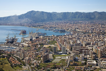 Palermo - outlook over city and harbor form Mount Pelegrino