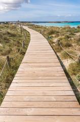 Beach way to Illetes beach in Formentera Balearic islands