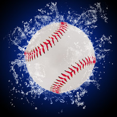 Baseball ball in splashing water
