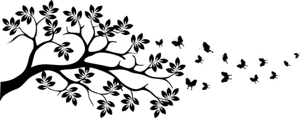 tree silhouette with butterfly flying