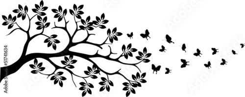 Naklejka tree silhouette with butterfly flying