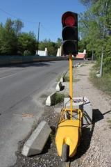 Feu tricolore de chantier pour circulation alternée